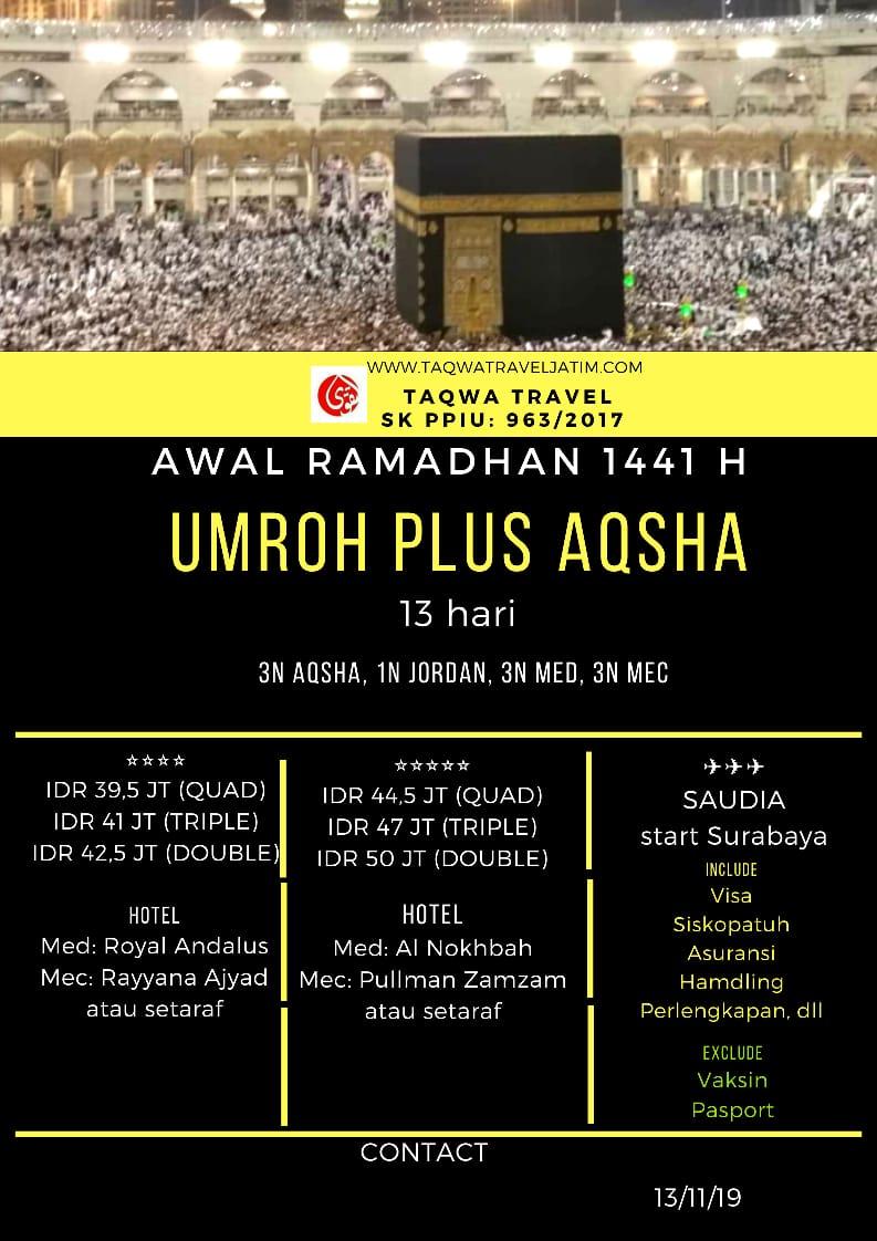 ZIARAH AQSHA PLUS UMROH AWAL RAMADHAN 1441 H